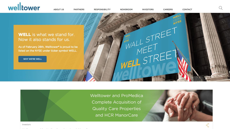 Screenshot of Welltower's WordPress powered website