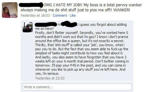 Don't Call Your Boss A Wanker On Facebook