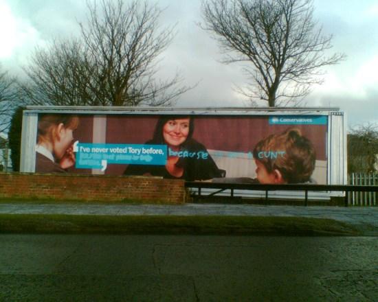 Vandalised Tory Billboards