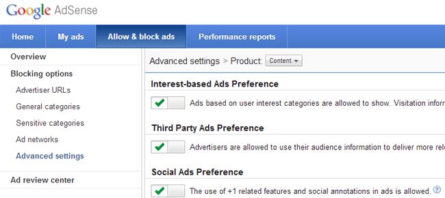 Google Adsense Advanced Settings