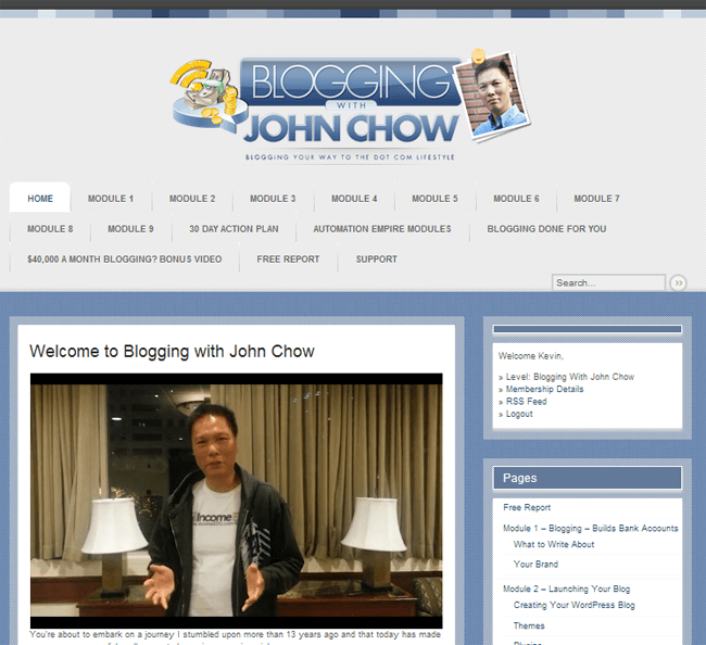 Blogging With John Chow Member Area