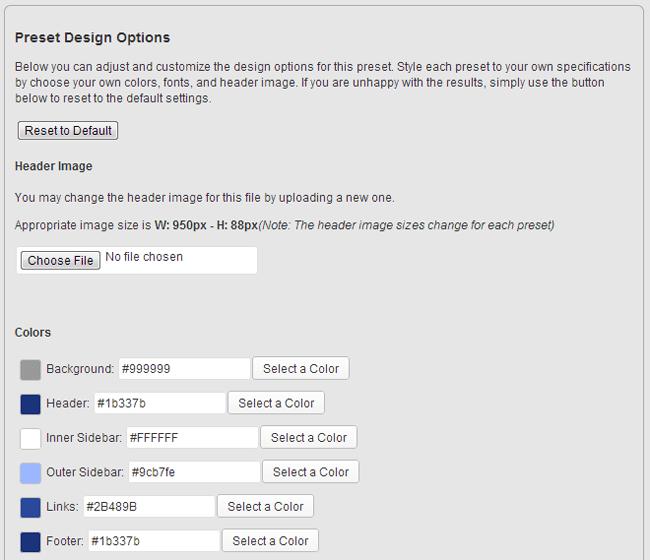 Preset Design Options