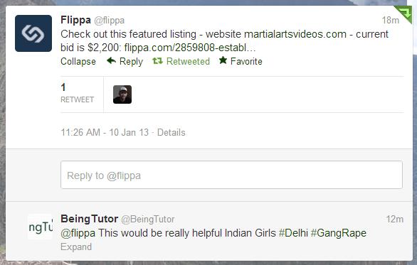 Tweet from Flippa