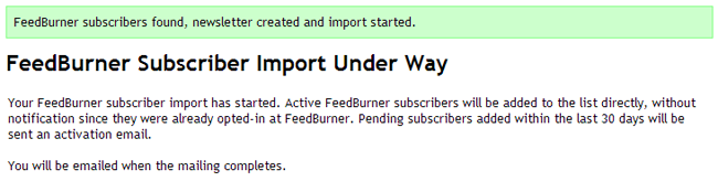 FeedBurner Subscriber Import Under Way