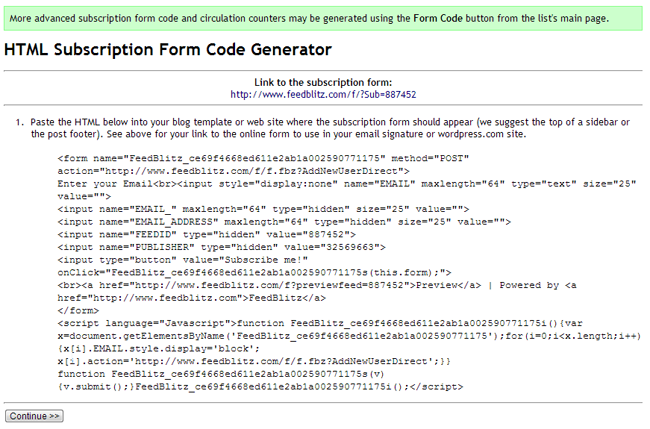 HTML Subscription Form Code Generator
