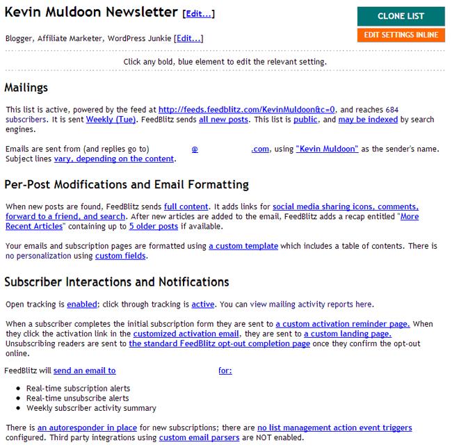 Mailing List Settings Area