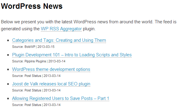 WP RSS Aggregator in action