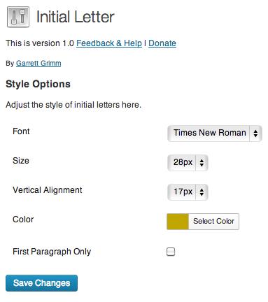 Initial Letter WordPress Plugin