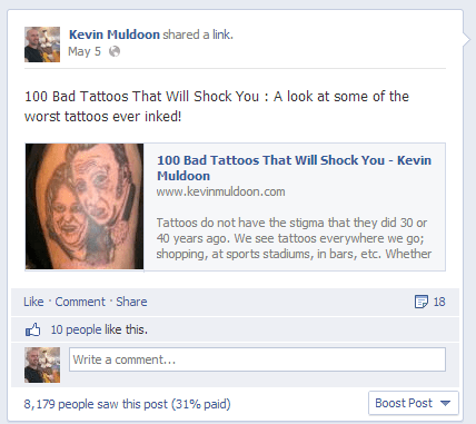 Bad Tattoo Post on Kevin Muldoon Fan Page