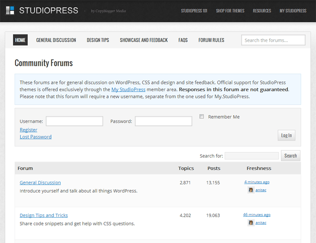 StudioPress Support Forums