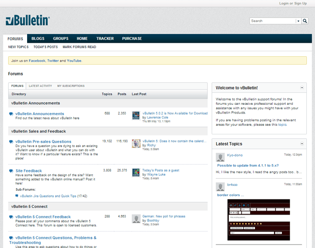 vBulletin Forum Layout