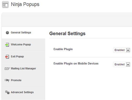 Ninja Popups General Settings