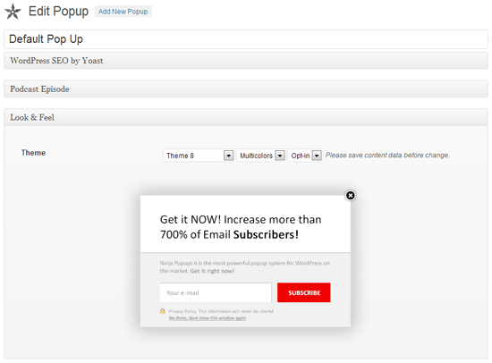 Creating a Popup
