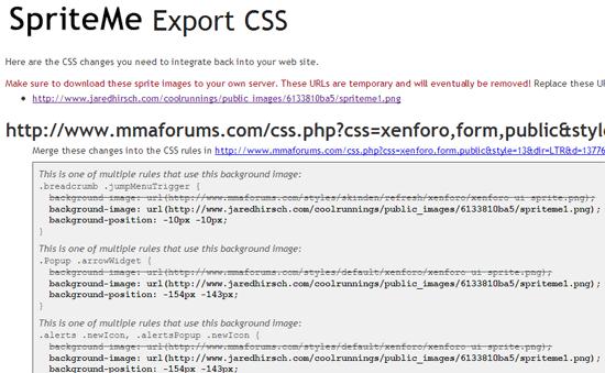 SpriteMe Export CSS