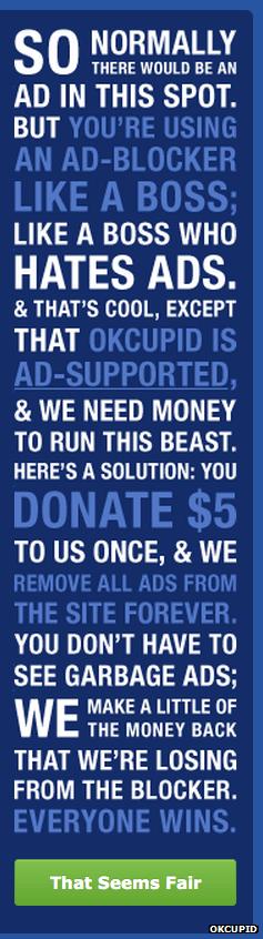 OKCupid No Ads Banner