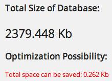 WP Optimize Database Size