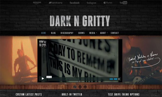 Dark N Gritty WordPress Theme