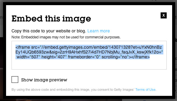 Embed Image Code
