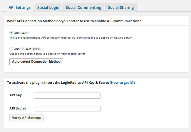 Login Radius API Settings