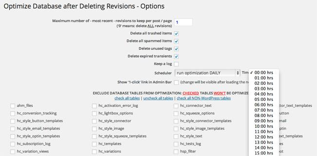 Optimize Database Options