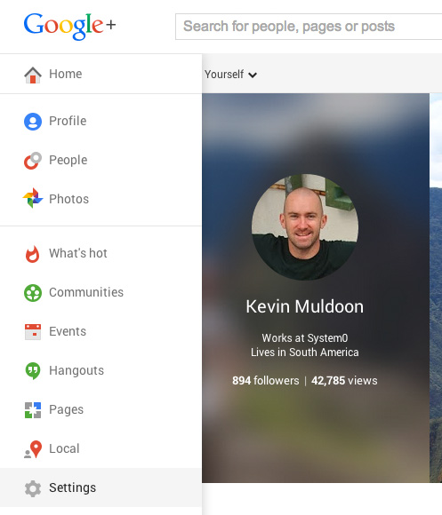 Visit Your Google+ Settings Page