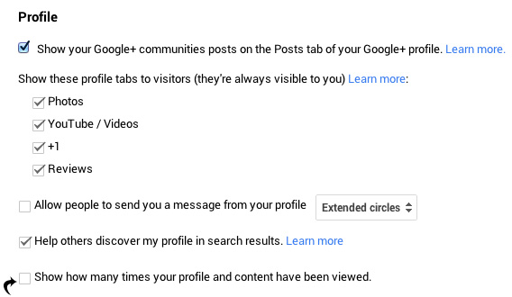 "Disable the Checkbox for ""Show how many times your profile and content have been viewed."""