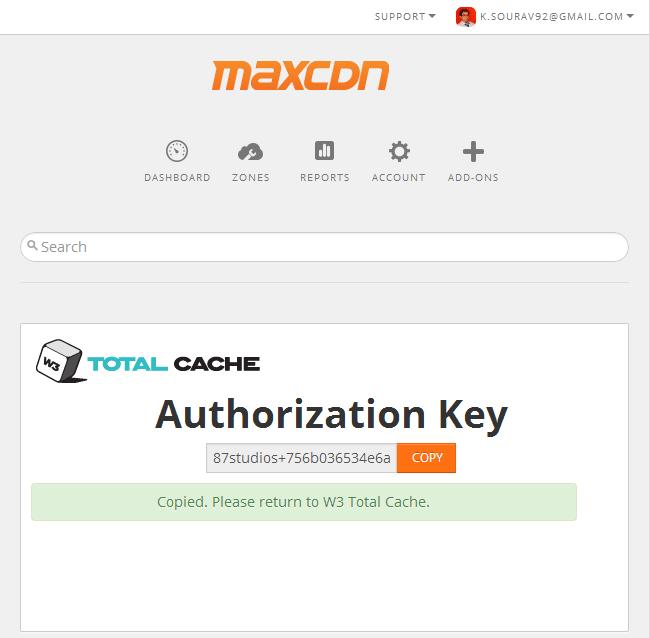 MaxCDN API Key