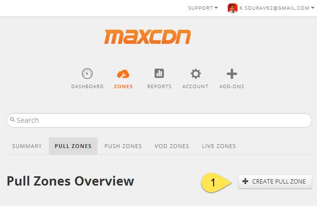 Create a new Pull Zone in MaxCDN
