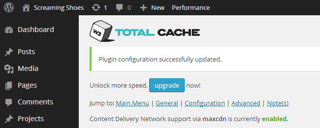 MaxCDN integration enabled