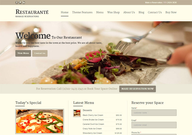 Restaurante WordPress Theme