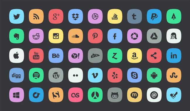 45 Subtle Social Media Icons