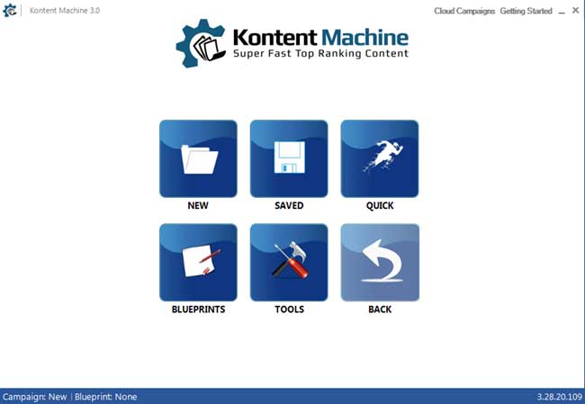Kontent Machine Home Screen