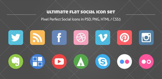 Circle Social Icons Set