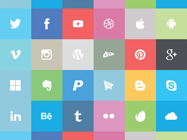 Freebie: Flat Social Icon Set