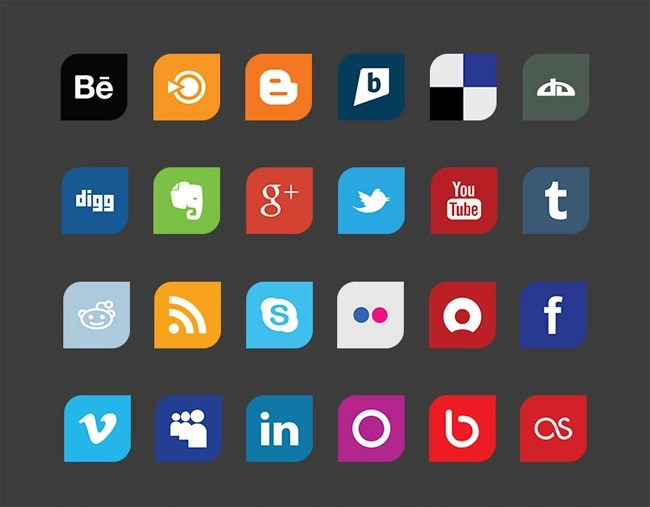 Leaf Flat Design Social Media Icon Set