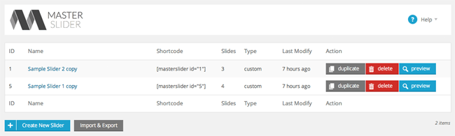 Slide List with Shortcodes