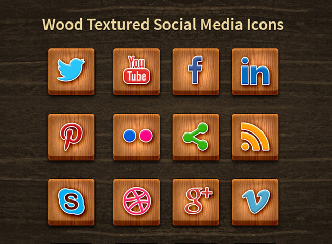24 Wood Textured Social Media Icons