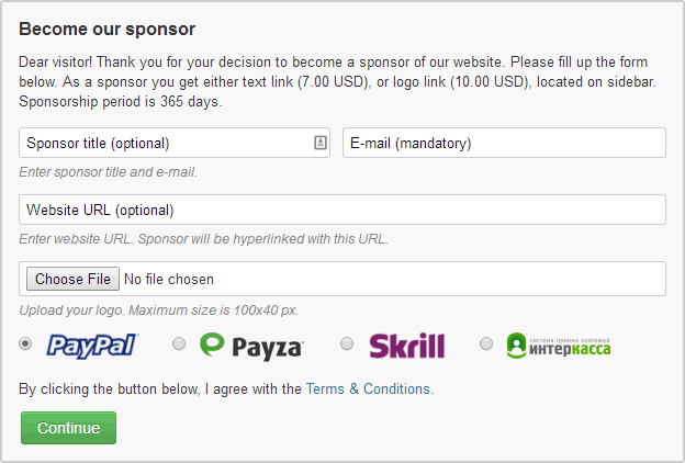 Article Sponsorship Plugin