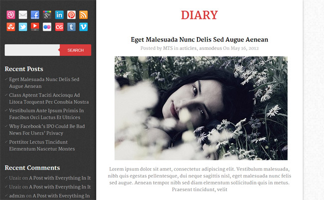 Diary Free WordPress Theme