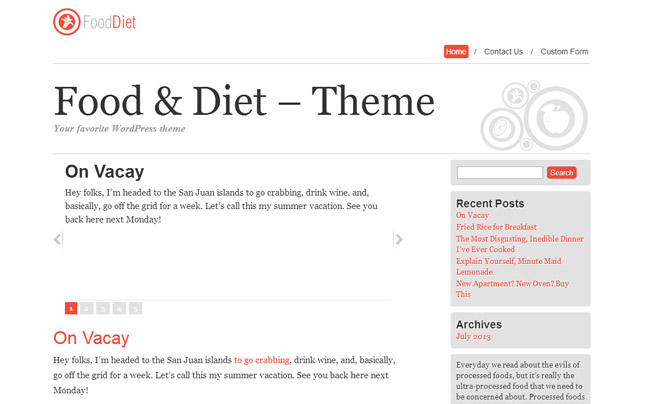 Food&Diet Free WordPress Theme