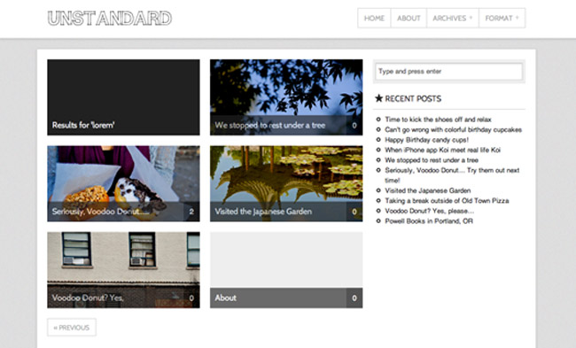 Unstandard WordPress Theme