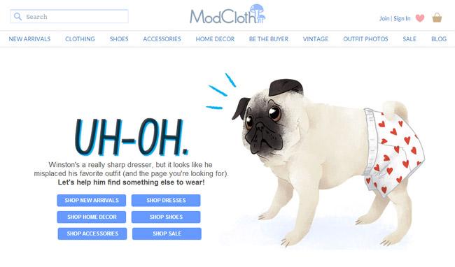 Modcloth Error Page