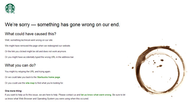 Starbucks Error Page
