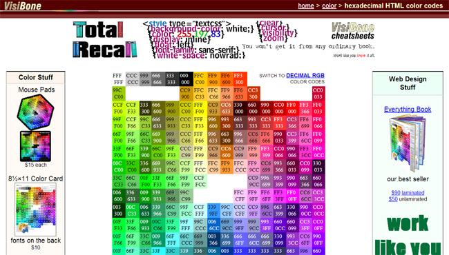 VisiBone Color Picker Website