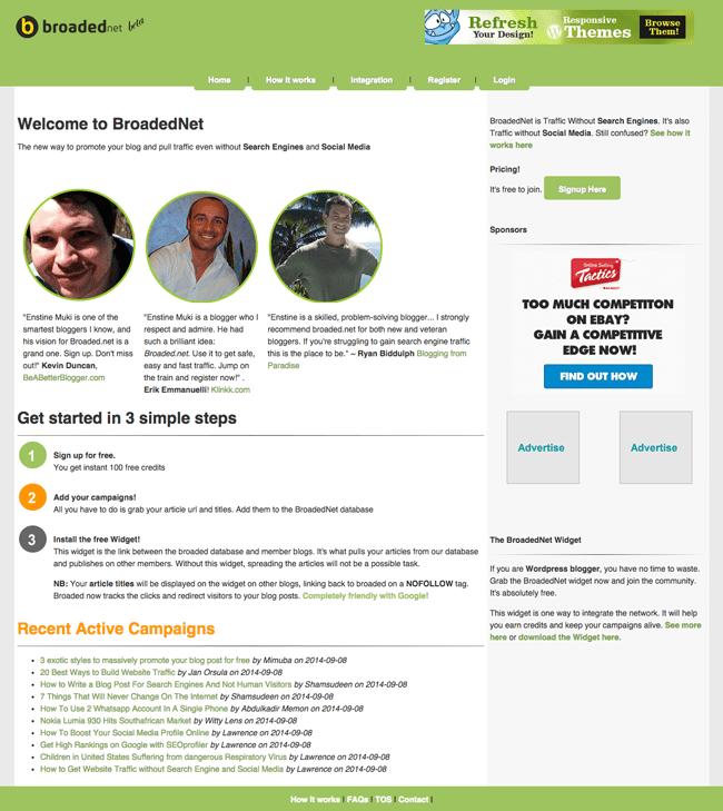 BroadedNet Homepage
