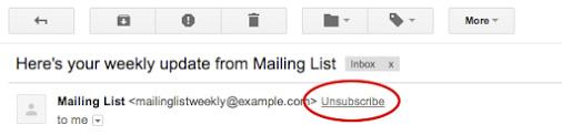 Google Unsubscribe Button