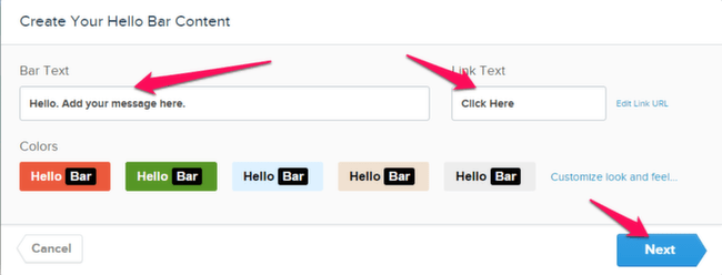 Finalize Hello Bar