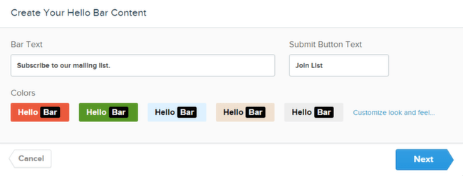 Hello Bar Email Customize