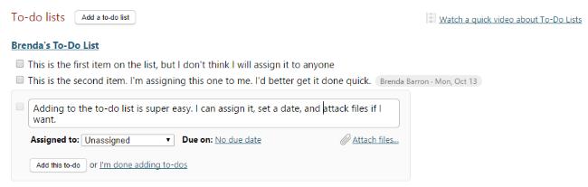 Basecamp to-do list options