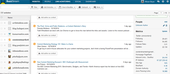 Content Marketing Institute Blog on BuzzStream 2